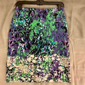 Green and purple watercolors skirt
